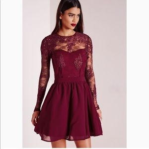 New MISSGUIDED burgundy red laced skater dress